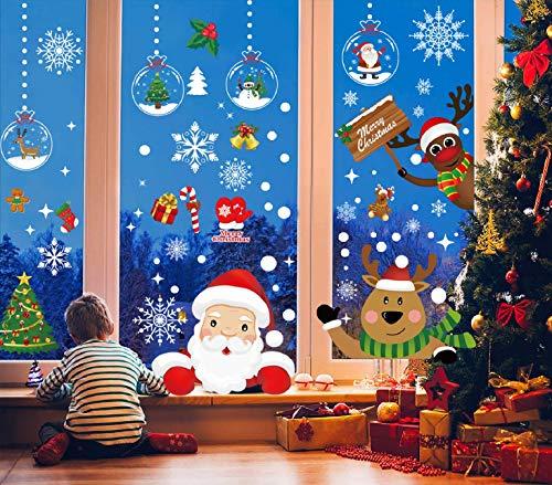 Voqeen Natale Adesivi Finestra Sticker Addobbi Adesivi Decorazione Natale Vetrofanie Decorativi Vetrina Wallpaper Fiocco di Neve Natale Babbo Natale Alce Natale Statico Adesivi