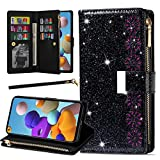 Galaxy A21 Bling Phone Case, Harsel Luxury Glitter Sparkle Shiny Girly Floral Magnetic Clasp Stand PU Leather Wallet Women Purse Folio Flip Cover Protective Shell with Hand Strap Zipper (Black)