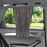 Sonnenschutz fürs Auto/Baby - mit Vorhang-Funktion für einfaches Auf- und Zuziehen - UV-Schutz Hitzeschutz & zum Abdunkeln - XXL 68 x 50 cm - auch für große Seitenscheiben - Anthrazit...