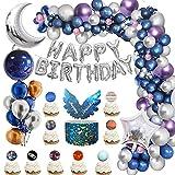 Globos Decoracion cumpleaños niño, azul púrpura Globos con pancarta de papel de aluminio de feliz cumpleaños, globos de papel de estrella y luna 4D para decoración de cumpleaños de niños y niños