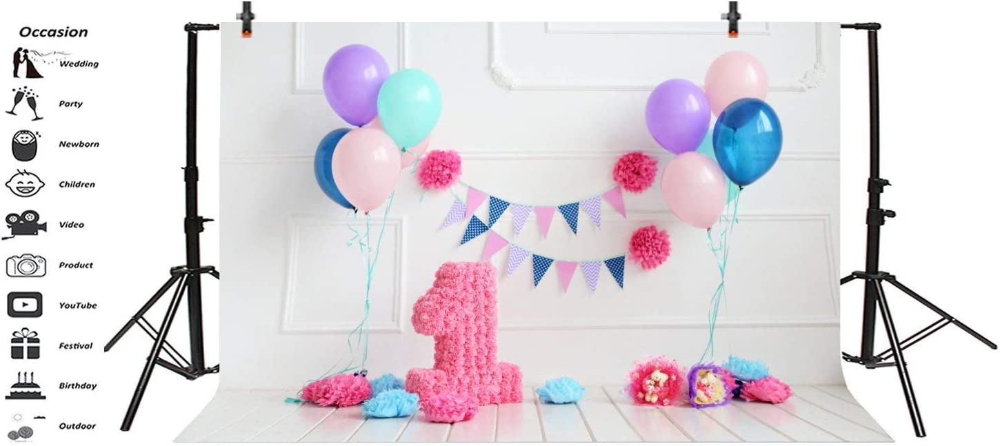 6x4ft 1st Birthday Backdrop Girl Colorful Flowers Balloons Banner Little Princess Cake Smash Photo Shoot Girls First Birthday Party Photo Background Photo Studio Props