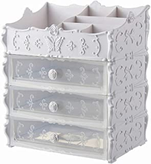 Plastic Cosmetic Drawer Container Makeup Organizer Box For Storage Make Up Jewelry Nail Holder Home Desktop Sundry Storage Cas,White