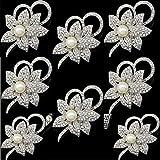 1 juego de broches de cristal con perlas y flores de cristal, broche de diamantes de imitación, broche para boda, 8 unidades