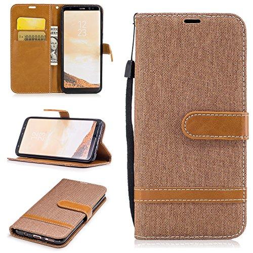 Hülle für Galaxy S8 Hülle Handyhülle [Standfunktion] [Kartenfach] [Magnetverschluss] Schutzhülle lederhülle klapphülle für Samsung Galaxy S8/G950F - DEBF030487 Braun