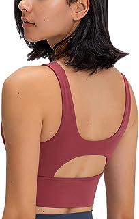 Women Sports Bra Removable Padded Longline Seamless High Impact Activewear Bra Crop Tank Tops Running Workout Yoga