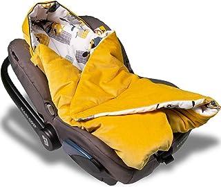 Jukki VELVET Einschlagdecke mit Kapuze Babyschale für Kindersitz im Auto oder Kinderwagen, Baby Decke Kuscheldecke, Babydecke ideal für Reisen || 90cm x 90cm