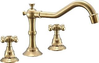 2 Handles 3 Holes Deck Mount Classic Widespread Bathroom Faucet Golden