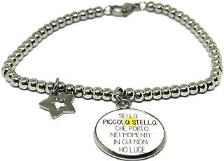 Sei la Piccola Stella - Bracciale Frase - Bracciale a sfere - Bracciale in acciaio - Bracciale con pendente - Bracciale co...