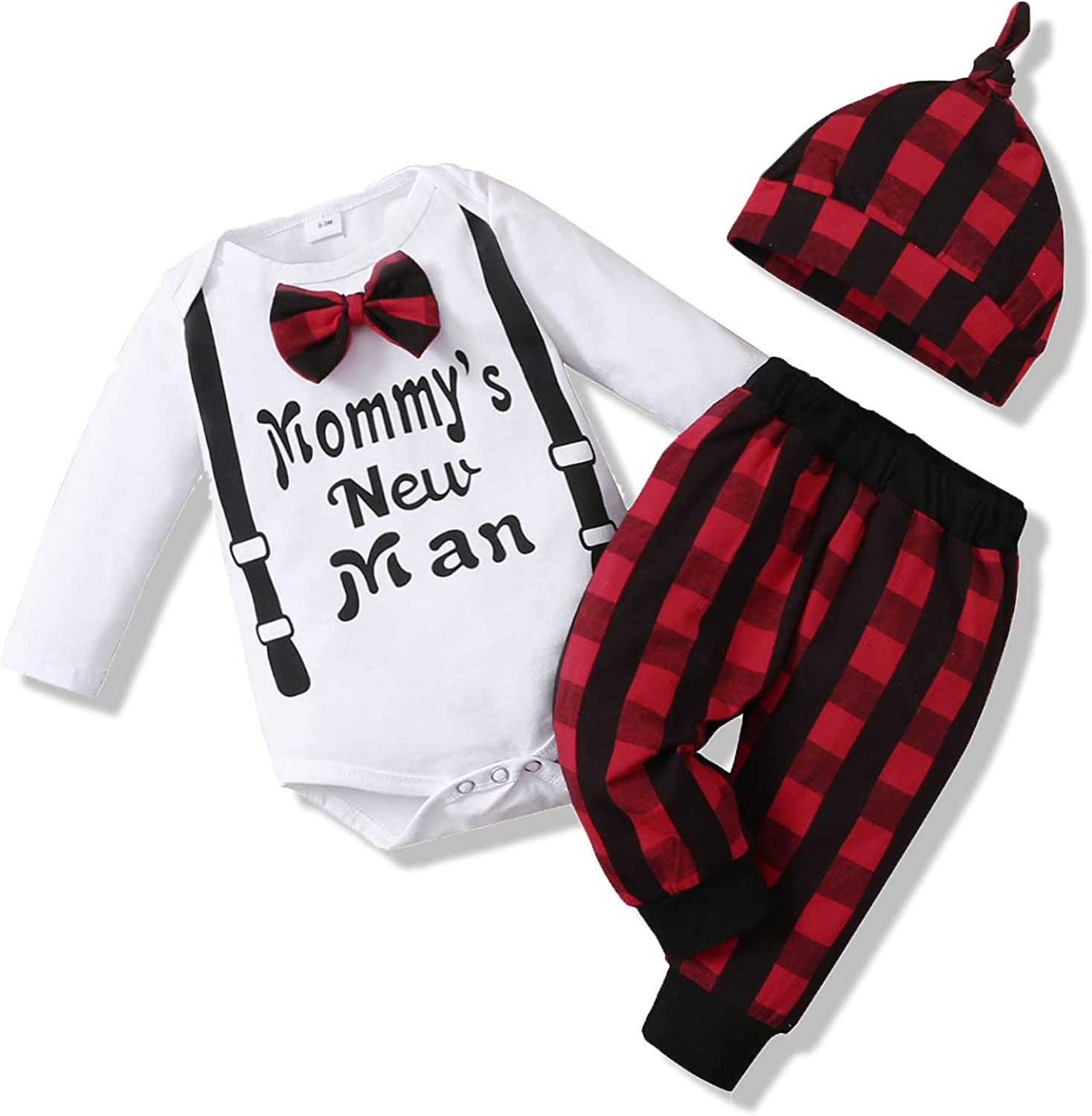 Baby Boy Clothes Newborn Boy Outfits Toddler Boy Clothes Letter Printed Long Sleeve Romper + Hat + Pants Set 0-18M