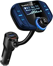 (Upgraded Version) Sumind Car Bluetooth FM Transmitter, Wireless Radio Adapter Hands-Free Kit with 1.7 Inch Display, QC3.0 and Smart 2.4A USB Ports, AUX Output, TF Card Mp3 Player(Blue)