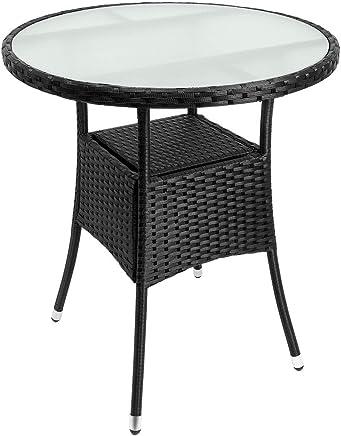 Fesselnd Deuba Poly Rattan Beistelltisch Schwarz I Ø 60 X 74cm I Milchglas Tisch I  Rund Gartentisch