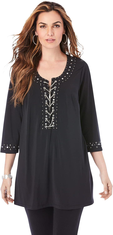 Roaman's Women's Plus Size Ultrasmooth Fabric Rhinestone-Embellished Tunic Stretch Jersey Top