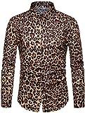 Sportides Men's Casual Long Sleeve Leopard Print Dress Shirts Tops JZA453 Yellow XXL