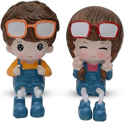 Store2508® Latku Boy & Girl Polyresin Hanging Legs Showpiece (Pair)