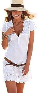 RETUROM Vestido de Verano, Vestido de Manga Corta de Encaje de Cuello de Verano V de Las Mujeres de Color Blanco