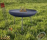 BTV 2 Massive Feuerschalen mit dünnen Runden Füßen, XXXL ca. 100cm Komplettset MIT 12 GRILLSPIEßEN Wurstspiesse 1 Meter