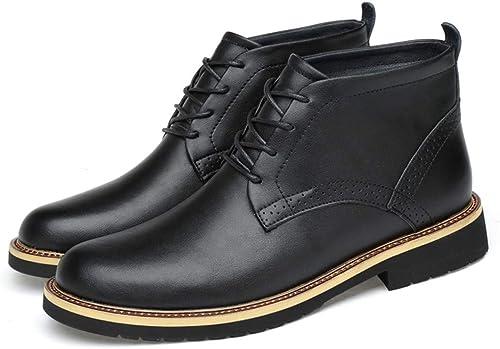 Easy Go Shopping botas de Tobillo de la Moda de los hombres Ocasionales Ligeras botas de Martin repujadas cómodas y de tacón Alto (Terciopelo Caliente Opcional) (Color   negro, Tamaño   38 EU)