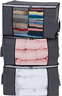 Large Capacity Storage Bag, Thick Fabric Clothes Storage Organizer for Comforters, Blankets, Bedding, Clothing, 3 Pack, Grey Under Bed Storage