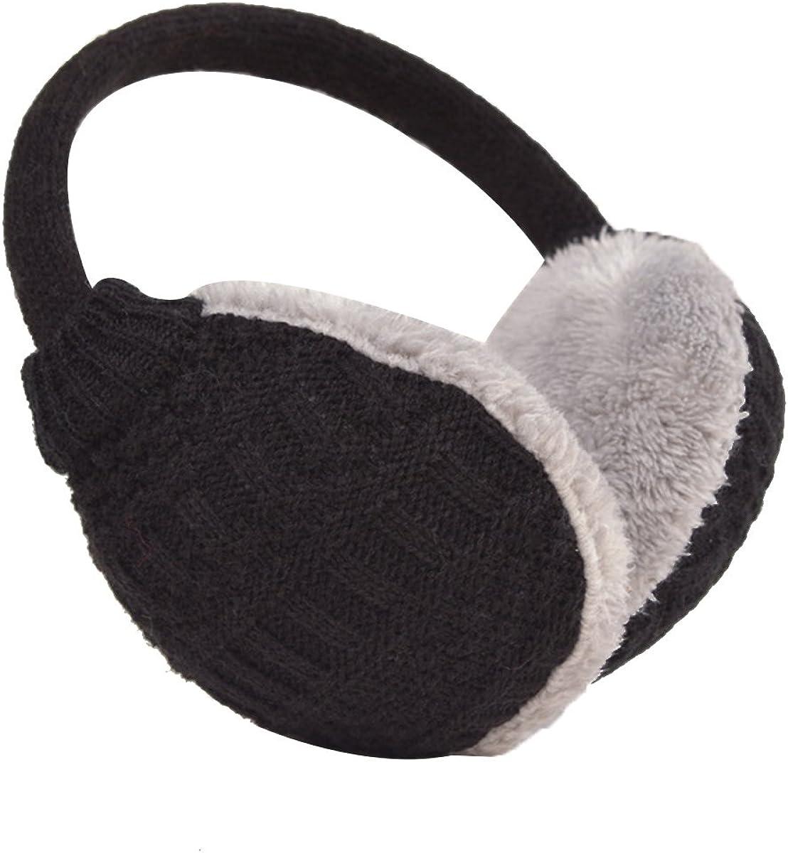 KESYOO Unisex Knit Earmuffs Furry Ear Warmer Winter Ear Covers Detachable to Wash for Outdoor Sports (Black)