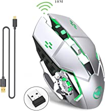 Rechargeable 2.4Ghz Wireless Gaming Mouse with USB Receiver,7 Colors Backlit for Macbook, Computer PC, Laptop (600Mah Lithium Battery) (Gray)