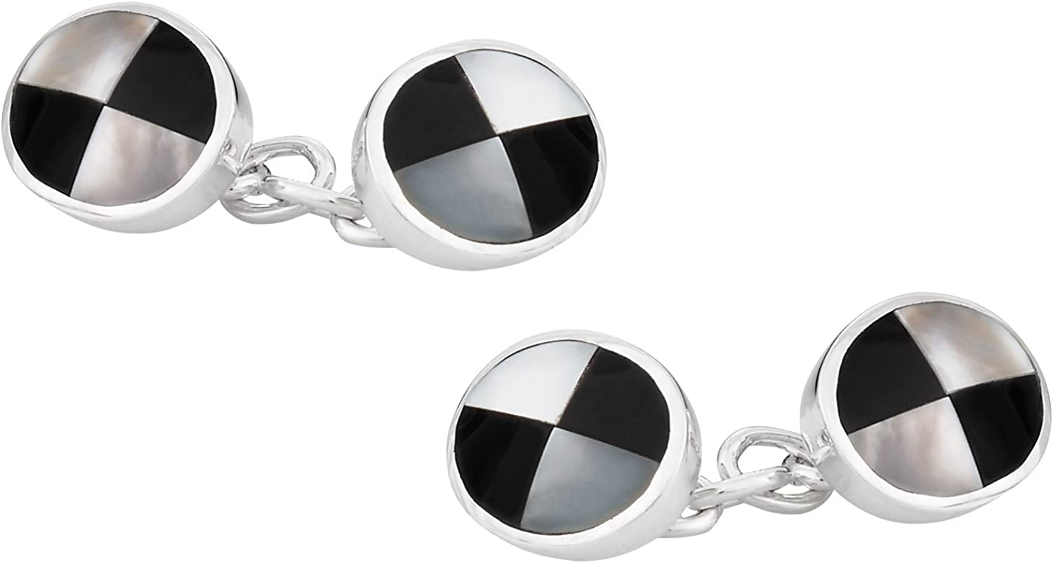 Cuff-Daddy Sterling Silver Onyx Mother High Minneapolis Mall material Pearl Cufflinks P of with