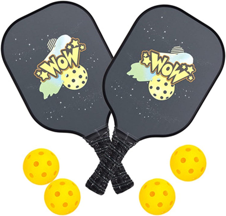 QiHaoHeji Juego de Palas de Pickleball de Grafito Pickleball Paddles Padre Niño Pickleball Set 4 Bolas 1 Pickleball Bag Lightweight Pickleball Paddle (Color : Black, Size : 39.5x20.1x1.08cm)