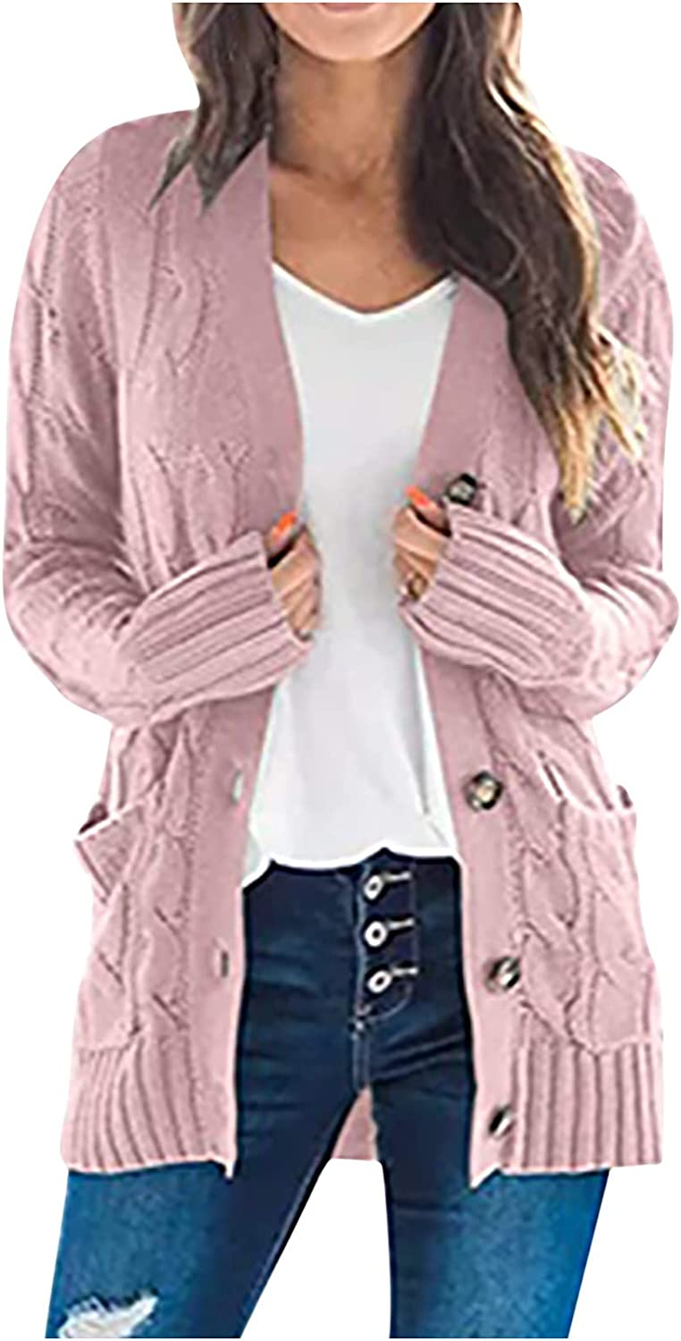 Women Tops Chunky Knit Sweaters Loose Slouchy Oversized Tops Open Front Cardigans Button Down Blouse Warm Coat
