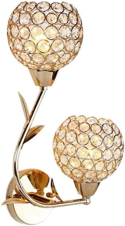 WHYDIANPU Treppenhausgang-Korridor-Kristallbalkonlampe der Wandlampe der modernen unbedeutenden Wohnzimmerschlafzimmernachttischlampe kreative Beleuchtungskrper (Farbe   Double head)