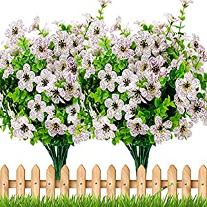 Artificial Flowers for Outdoors Plastic Plants – 8 Bundles Silk Fake Greenery Shrubs No Fade UV Resistant Faux Boxwood Window Box (White)
