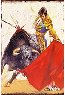 YOMIA Spanish Bullfighting Vintage Tin Signs Retro Wall Plaques Plate Posters Coffee Decor for Home Club Bar Cafe Hotel Antique Metal Painting