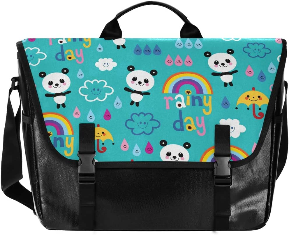 Cute Rainbow Pandas Animer and price revision Unisex Casual Satchel Canvas New sales Mess Waterproof