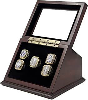 Championship Ring Display Case Wooden Box and Glass Window 5 Slot Gift for Sports Fans