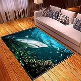 xiangpiaopiao Alfombra Alfombra Hermoso Submarino Tiburón Delfines Escuela De Peces Impreso En 3D Decoración para El Hogar Alfombra Suave Antideslizante (03339Dt) 180X180Cm