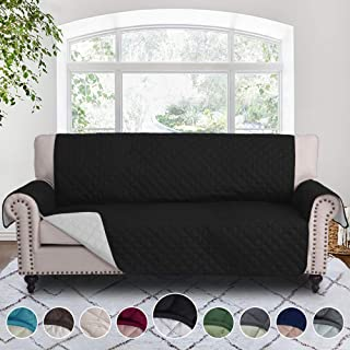RHF Reversible Sofa Cover, Couch Covers for 3 Cushion Couch, Couch Covers for Sofa, Sofa Covers for Living Room,Couch Covers for Dogs, Sofa Slipcover, Couch Protector(Sofa: Black/Gray)