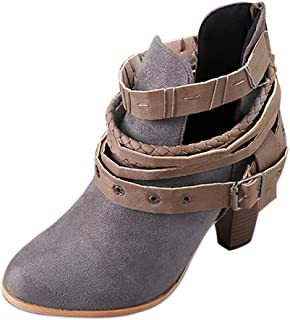 a00f33b19a7 Sunmoot Suede Ankle Boots Women Belt Buckle Knight Square High Heel Pointed  Toe Shoes