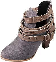 Mujeres Cinturón Hebilla Botas Cortas Botines Caballero Señoras Zapatos Cuadrados de Tacón Alto