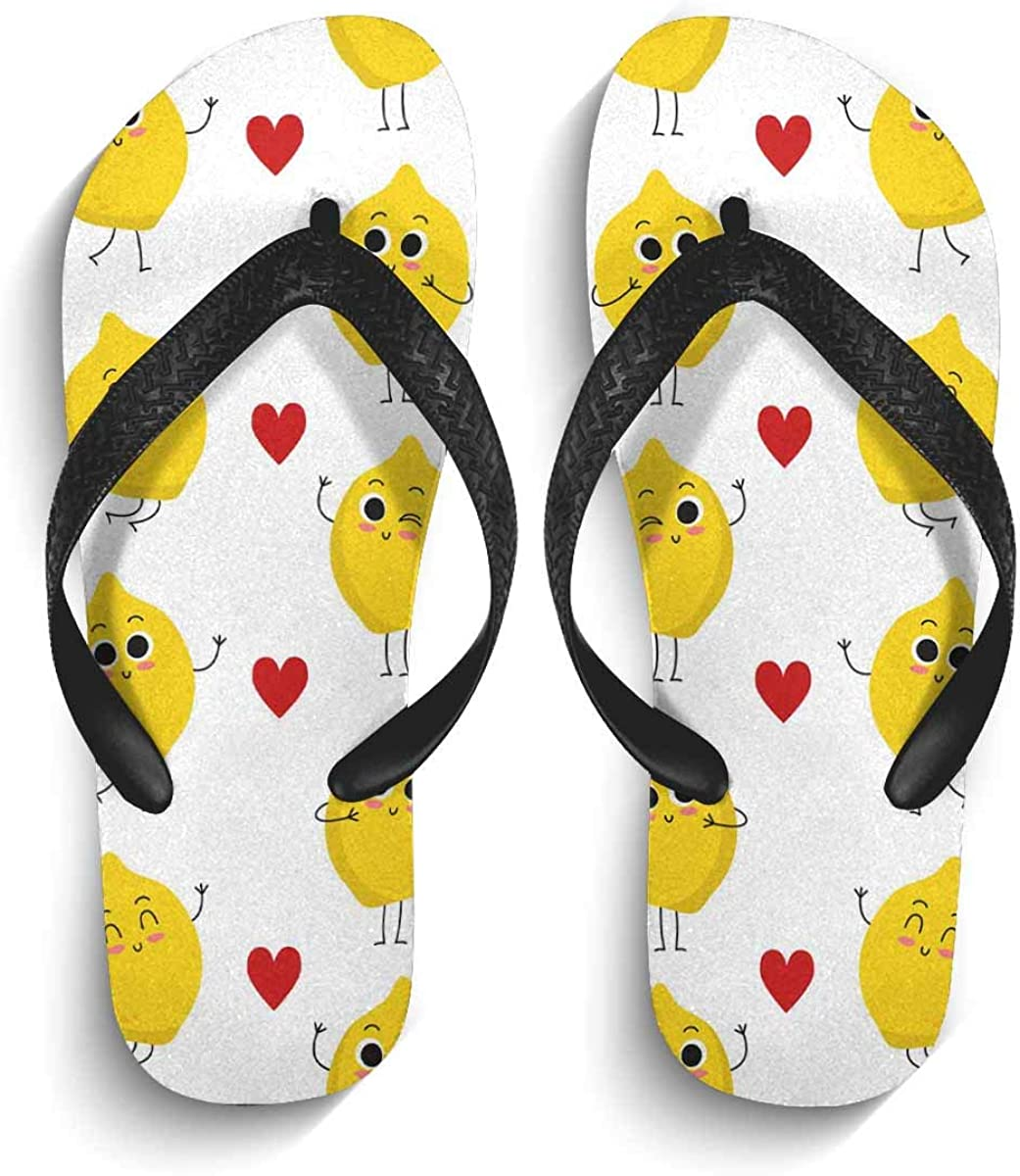 InterestPrint Men's Flip Flops Black Straps Cute Lemon Heart Casual Thongs Sandals for Beach Home M