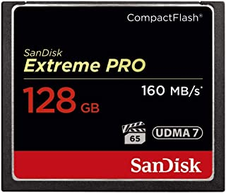 SanDisk SDCFXPS-128G-X46 Extreme PRO 128GB CompactFlash VPG-65 UDMA 7 (Up to 160MB/s Read, 150MB/s Write) CF Memory Card , Black