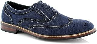 Men's 139001 Lace Up Wing Tip Brogue Denim Blue Casual Dress Shoes