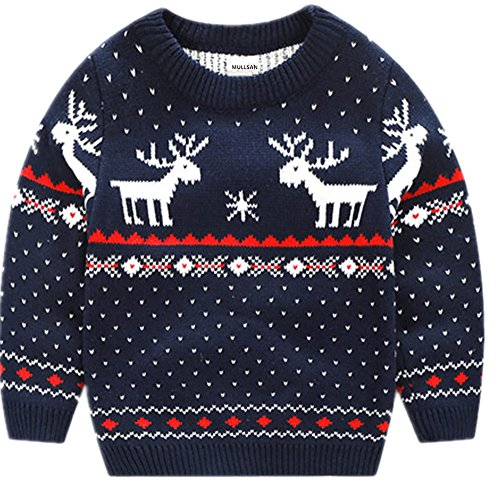 MULLSAN Children's Fireplace Lovely Sweater for Christmas Best Gift (4T, Dark Blue)