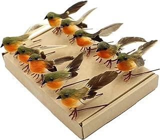 Yolococa Petits Oiseaux Artificiels en Plumes Rouges-Gorges Decoratifs Avec Pinces pour Décoration de Sapin de Noël (Lot d...