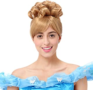 STfantasy Cinderella Wig for Women Princess Cosplay Costume Halloween Party Short Curly Gold Blonde Hair