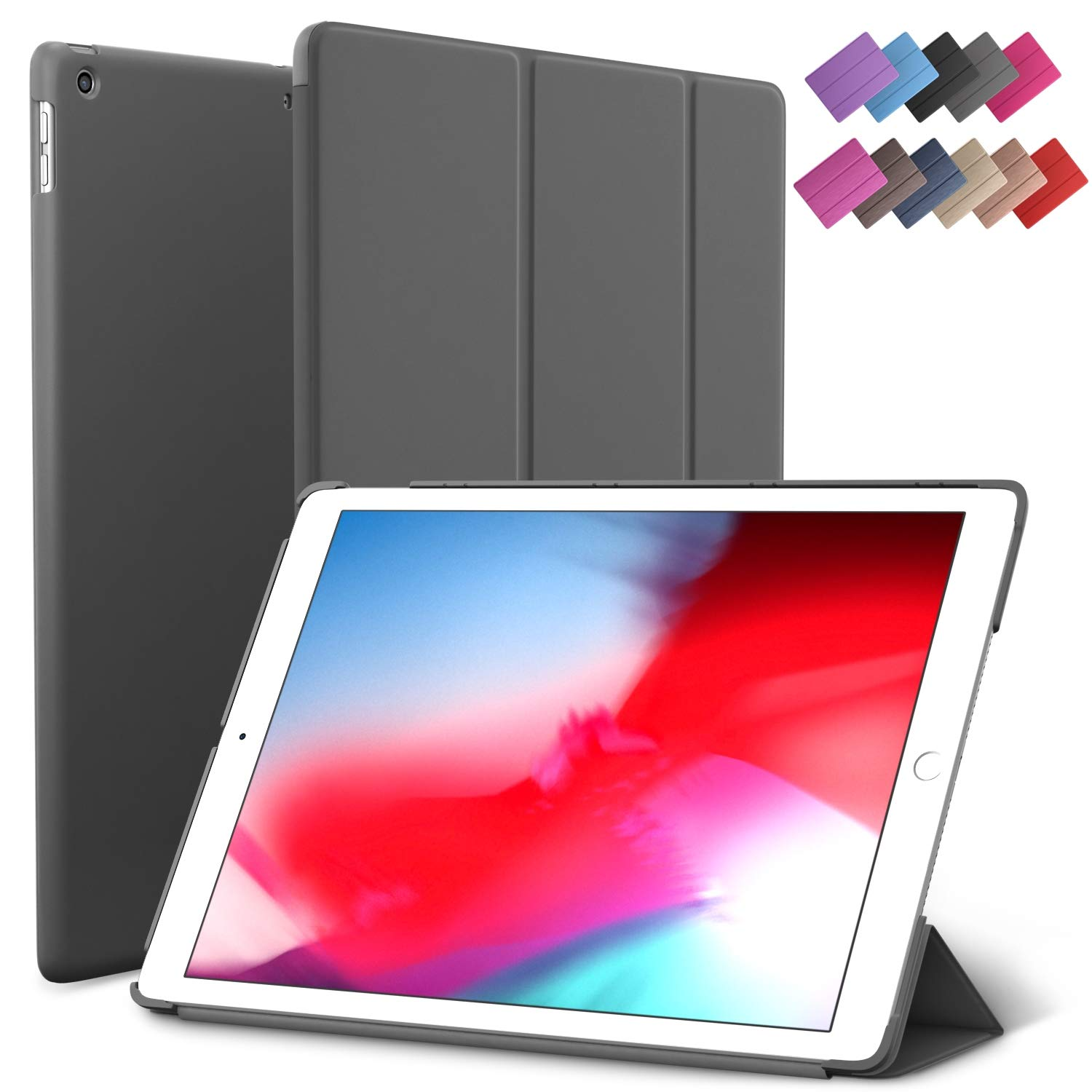 iPad Mini 5 case, ROARTZ Gray Slim Fit Smart Rubber Coated Folio Case Hard Cover Light-Weight Wake/Sleep for Apple iPad Mini 5th Generation 2019 Model A2133 A2124 A2126 7.9-inch Di
