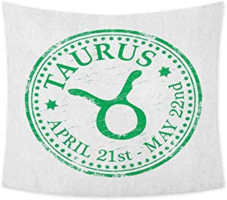 jecycleus Zodiac Taurus Boho Tapestry Wall Hanging Grunge Looking Graphic Rubber Stamp Design Vintage Stars and Sign Colorful Tapestry Hippie Decor W59 x L51 Inch Fern Green and White