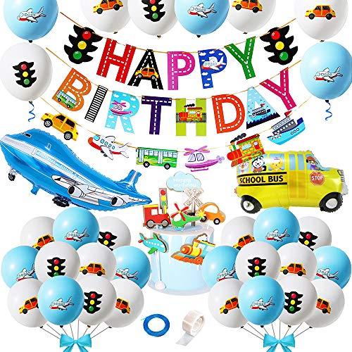 Transporte Decoraciones Cumpleaños para Niños, Aviator Theme Favores Fiesta con Pancarta Cumpleaños Vehículos Transporte Globos Autobús Tren Avión Semáforo Topper Torta para Decoración Baby Shower