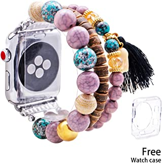 KAI Top Compatible with Apple Watch Band 38mm 40mm, Fashion Handmade Elastic Stretch Bohemian Wood Beaded Bracelet Tassel Elephant Replacement Strap for Women Girls Series 4/3/2/1 (Black-38mm/40mm)