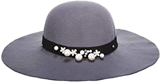 HongJie Hou Europe and The United States New Big Woolen Hats Fashion Ladies hat hat (Color : Grey)
