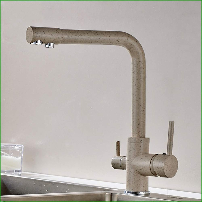 GONGFF Wasserhahn alle Kupfer Nachahmung Stein Quarzstein reines Wasser Doppelkopf Küchenarmatur Spüle heies und kaltes Wasser