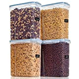 Vtopmart Cereal Storage Container Set, Extra Large BPA Free Plastic Airtight Food Storage Containers 213 fl oz for Cereal, Snacks and Sugar, 4 Piece Set Cereal Dispensers with 24 Labels, Blue
