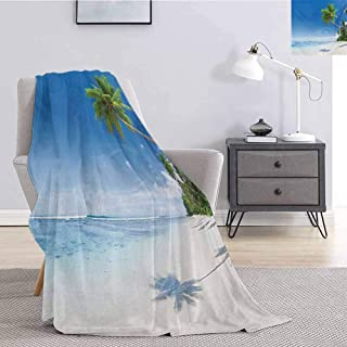 Luoiaax Ocean Flannel Throw Blanket for Couch Tropical Beach with Palm Trees in The Ocean Summer Paradise Image Modern Design for Living Room Bed or Couch Blanket W54 x L72 Inch Blue Green Cream